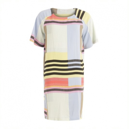 Line Print Short Sleeve Dress